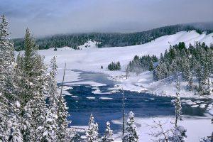 Winter in Yellowstone, Wyoming, United States.