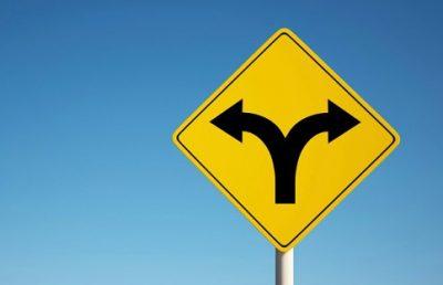 diverging road sign